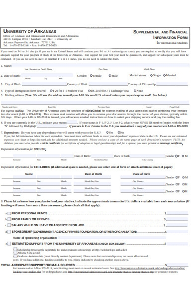 financial information form