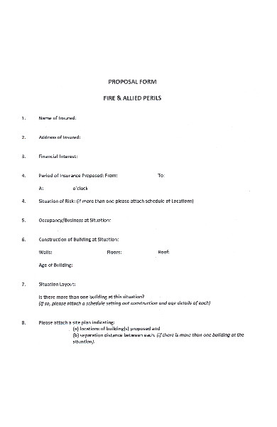 fire proposal form