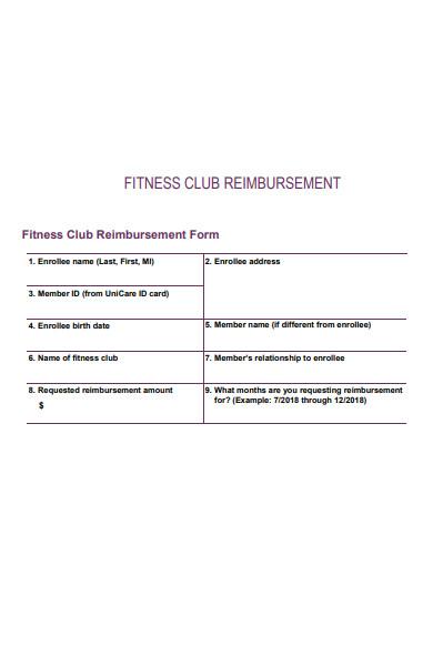 fitness club reimbursement form