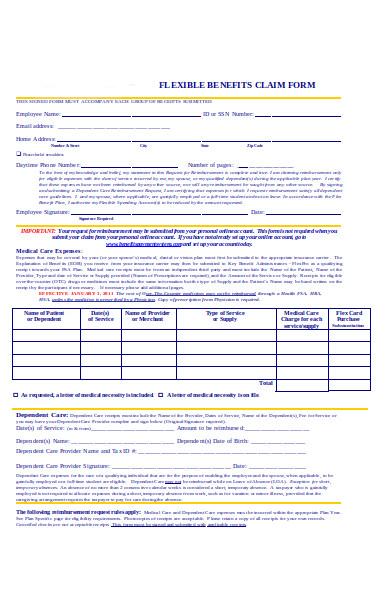 flexible benefit claim form
