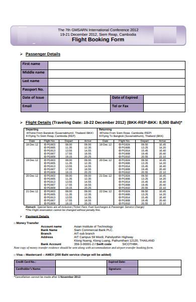 flight travel booking form