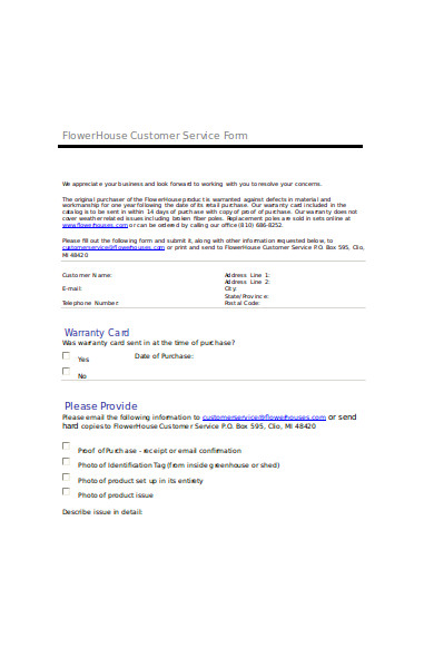 flower house customer service form