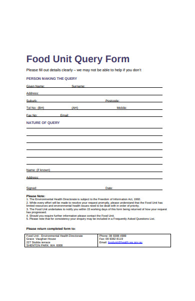 food unit query form