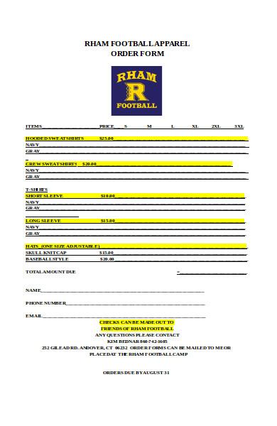 football apparel order form