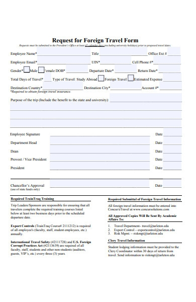 foreign travel form