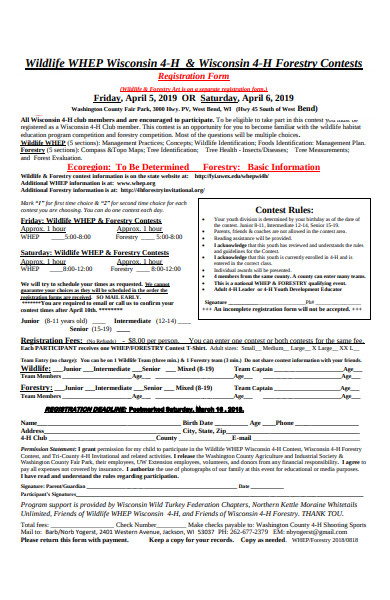 forestry contest registration form