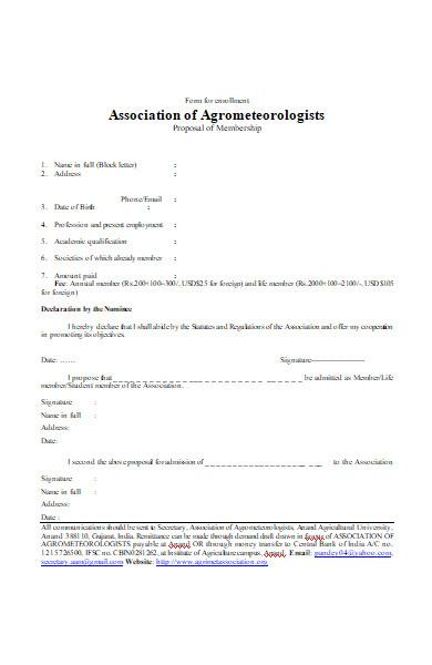 form for enrolment