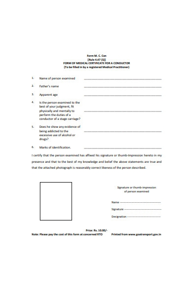 form of medical certificate for conductor