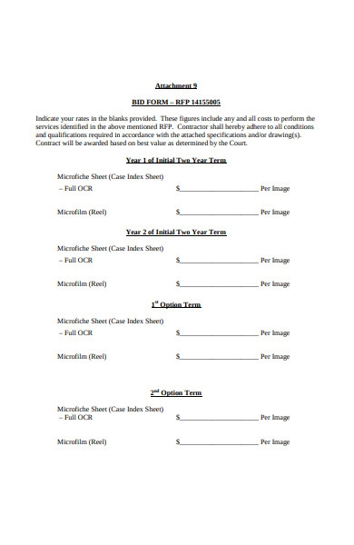 formal bid form template