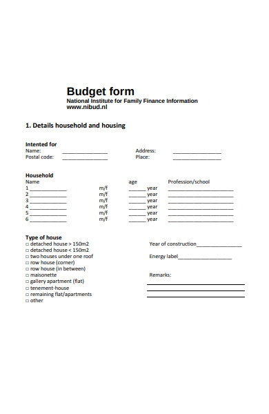formal budget form sample
