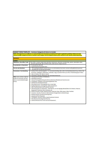 formal budget form template