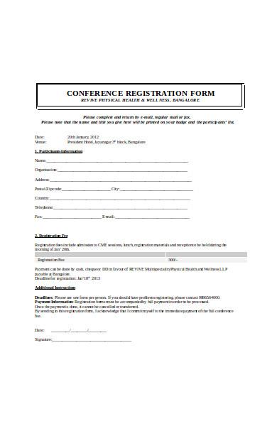 formal conference registration form