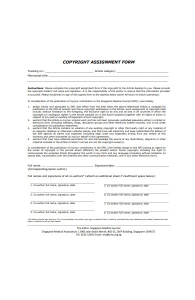 formal copyright assignment form