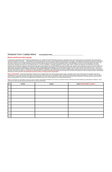 formal disclaimer form