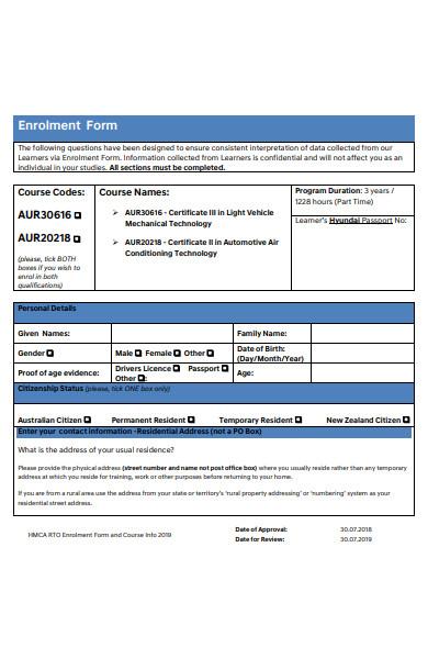 formal enrollment form