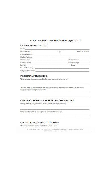 formal intake form