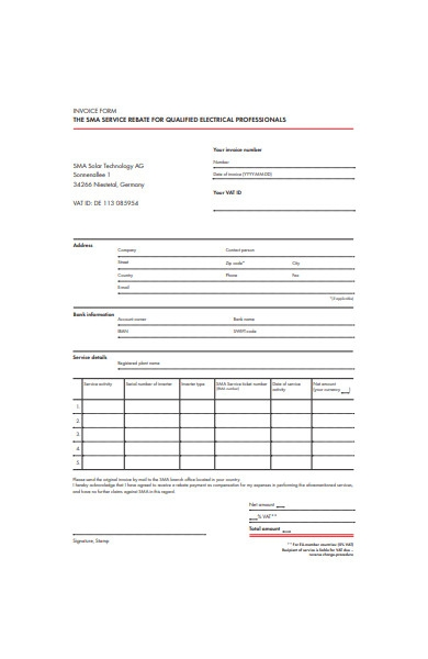 formal invoice form template