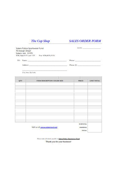 formal sales order form sample