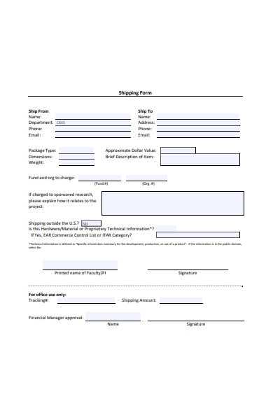 formal shipping form
