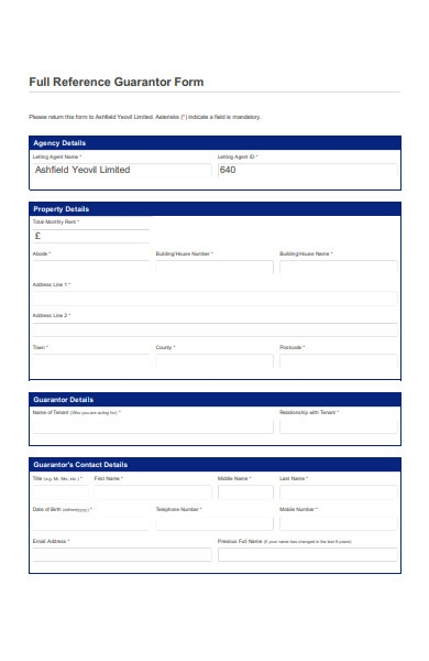 full reference guarantor form
