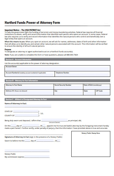 funds power of attorney form