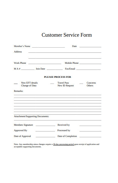 gym customer service form