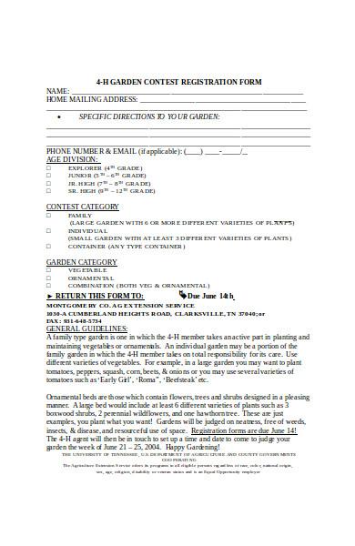 garden contest registration form