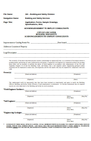 general acknowledgement form