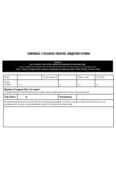 general college travel request form