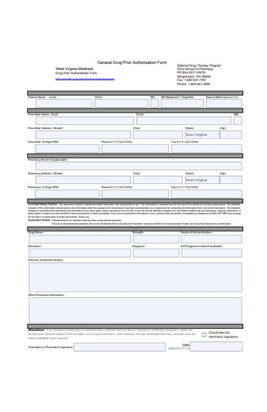general drug prior authorization form