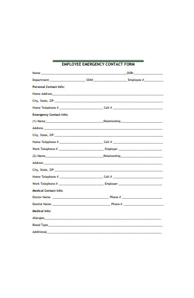 general employee emergency contact form in pdf
