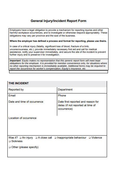 general incident report form