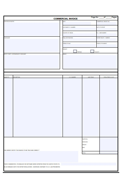 general invoice commercial form