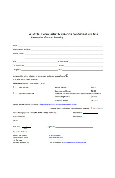 general membership registration form