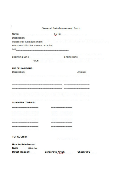 general reimbursement form