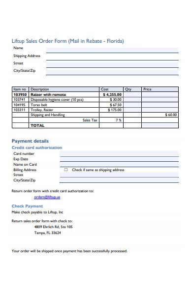 general sales order form template