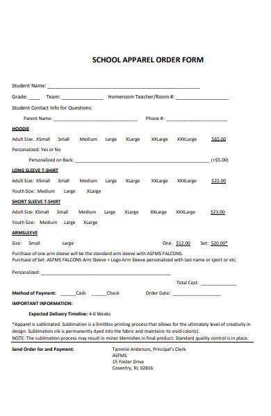 general school apparel order form