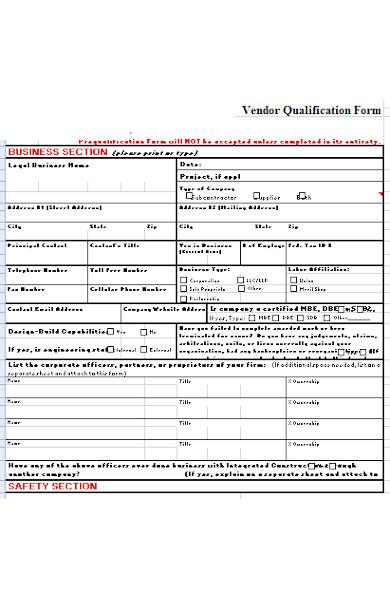 general vendor form1
