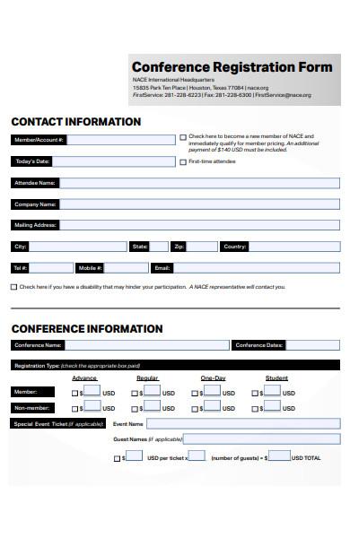 generic conference registration form
