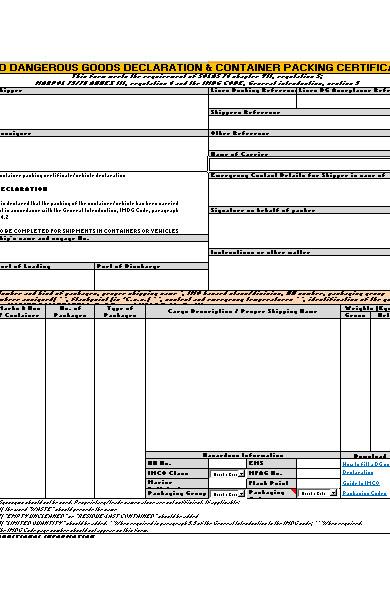 goods declaration form