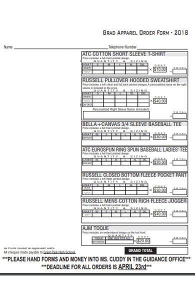 grant apparel order form