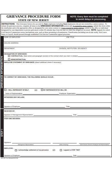 grievance procedure form