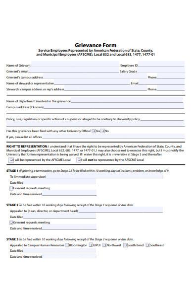 grievance service form