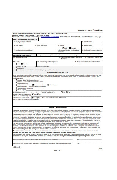 group accident claim form