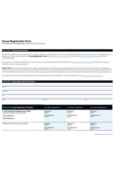 group conference registration form