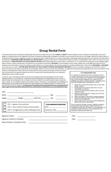 group rental form