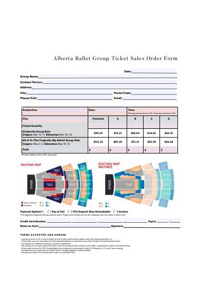 group ticket sales order form