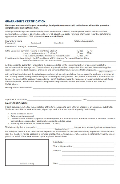 guarantor certificate form