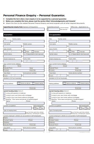 guarantor finance enquiry form