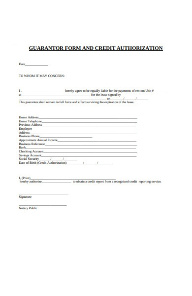 guarantor form and credit aauthorization